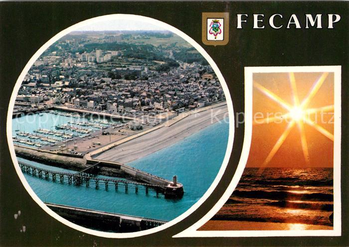 AK / Ansichtskarte Fecamp Port vue aerienne Coucher de soleil Hafen Sonnenuntergang Fecamp 0