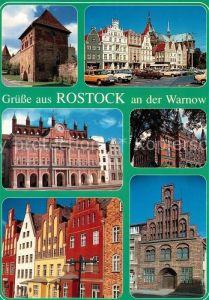 AK / Ansichtskarte Rostock_Mecklenburg Vorpommern Teilansichten Hansestadt Kuhtor Markt Rathaus Staendehaus Wokrenter Strasse Kerkhofhaus Rostock