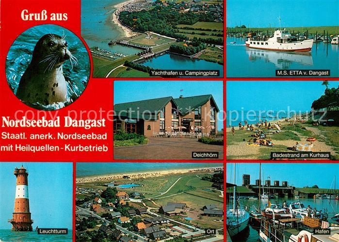 AK / Ansichtskarte Dangast_Nordseebad Seehund Leuchtturm Deichhoern Gaststaette Badestrand Kurhaus Yachthafen Campingplatz Fliegeraufnahme Dangast_Nordseebad 0