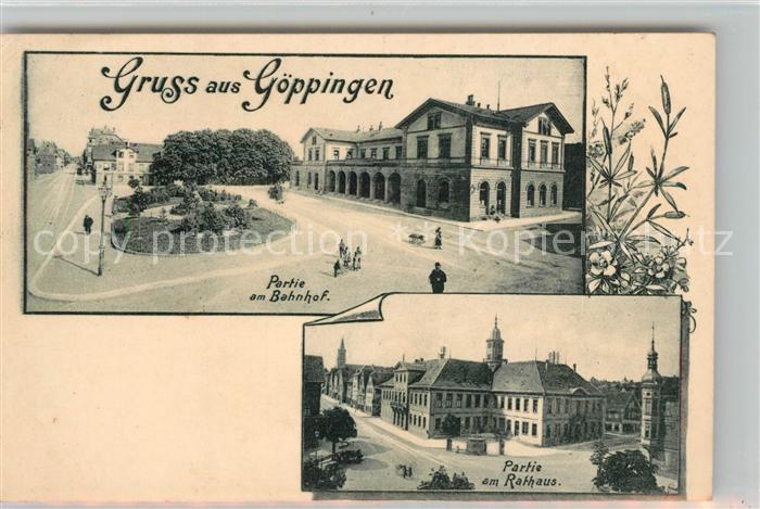 AK / Ansichtskarte Goeppingen Bahnhof Rathaus Goeppingen