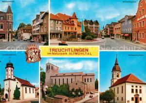 AK / Ansichtskarte Treuchtlingen Im Naturpark Altmuehltal Wallmuellerplatz Bahnhofstrasse Kirchen Treuchtlingen