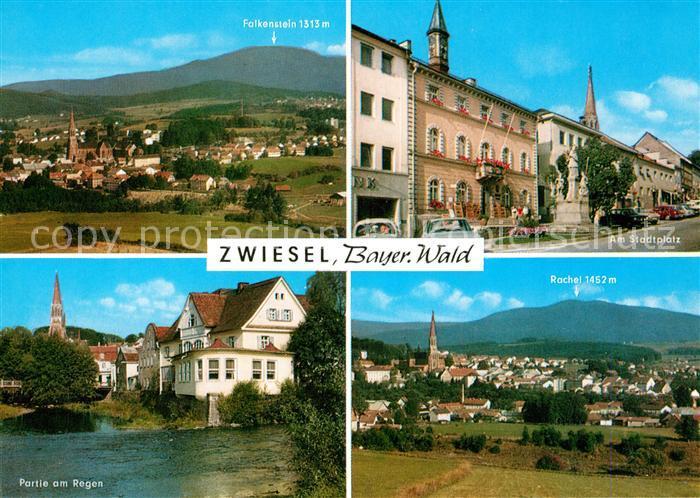 AK / Ansichtskarte Zwiesel_Niederbayern Panorama Blick zum Falkenstein Rachtel Stadtplatz Partie am Regen Zwiesel Niederbayern