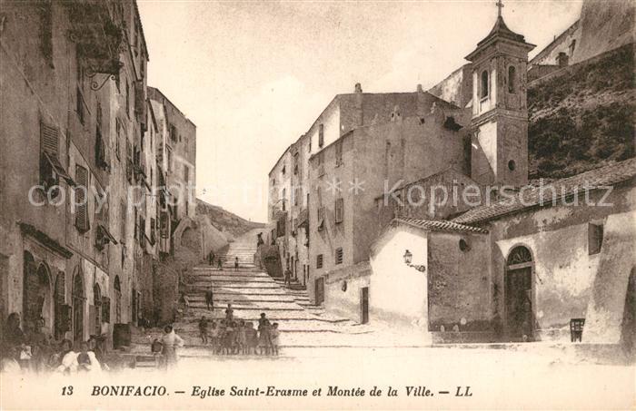 AK / Ansichtskarte Bonifacio_Corse_du_Sud Eglise Saint Erasme et Montee de la Ville Bonifacio_Corse_du_Sud