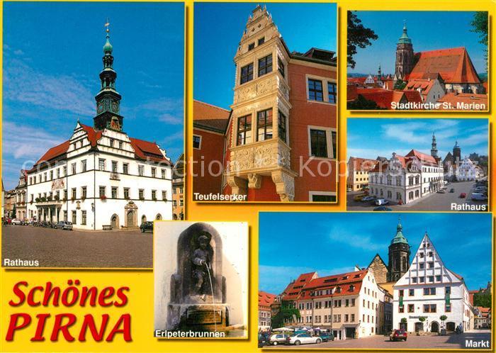 AK / Ansichtskarte Pirna Rathaus Markt Teufelserker Stadtkirche St. Marien  Pirna
