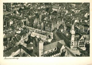 AK / Ansichtskarte Braunschweig Fliegeraufnahme mit Dom Burg und Rathaus Braunschweig