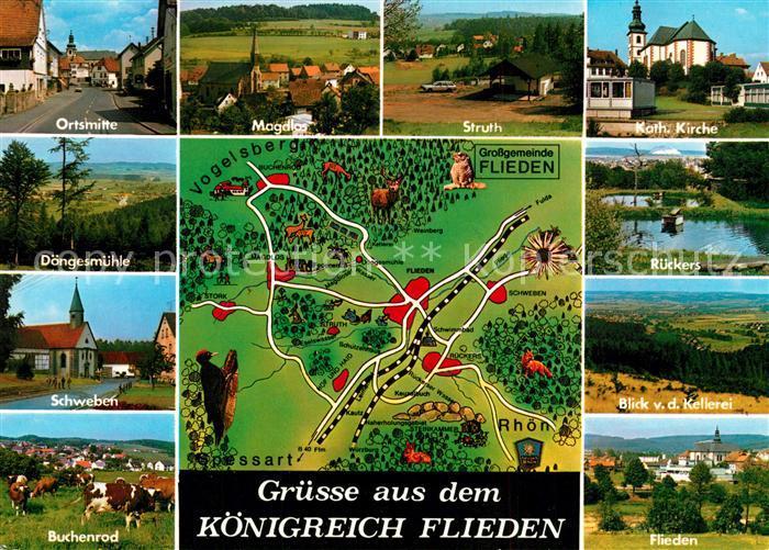 AK / Ansichtskarte Flieden und Umgebung Landkarte Flieden