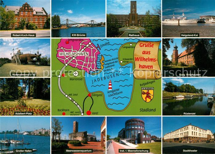 AK / Ansichtskarte Wilhelmshaven Sehenswuerdigkeiten der Stadt Jadebusen Landkarte Wilhelmshaven