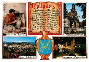 AK / Ansichtskarte Vallauris Potier au Travail l'homme au mouton Vue generale Magasin d exposition Vallauris