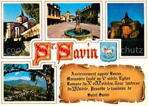 AK / Ansichtskarte Saint Savin_Hautes Pyrenees Eglise abbatiale La Fontaine et la Place Eglise abbatiale illuminee Vue generale Saint Savin