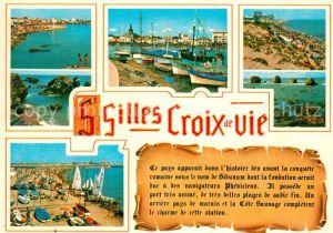 AK / Ansichtskarte Saint Gilles Croix de Vie_Vendee Vue generale Le port La plage Saint Gilles Croix de Vie