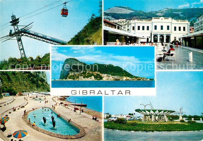 AK / Ansichtskarte Gibraltar Seilbahn Felsen Stadtplatz Swimmingpool Gibraltar