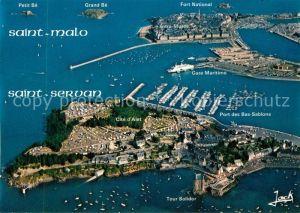 AK / Ansichtskarte Saint Servan_Ille et Vilaine La cite d'Alet le port en eau profonde at St Malo Vue aerienne Saint Servan