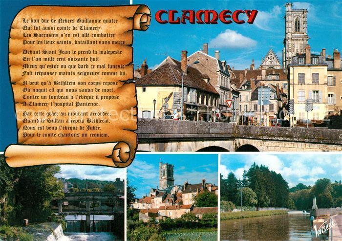 AK / Ansichtskarte Clamecy_Nievre Le pont de Beuvron et la rue Porte Randau Le Perthuis La collegiale Saint Martin Yonne Clamecy_Nievre