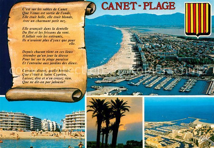 AK / Ansichtskarte Canet_Plage Vue aerienne du port de plaisance et de la plage auf fond les Alberas La plage et la place de la Mediterranee Canet_Plage
