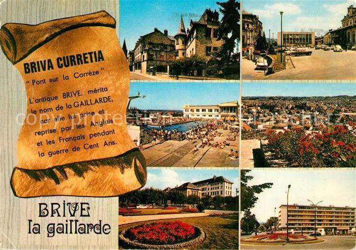 AK / Ansichtskarte Brive_Correze Le Musee E Rupin La Place de la Gare La Piscine Vue generale La Poste Le Rond Point Brive Correze