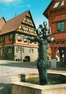 AK / Ansichtskarte Plochingen Brunnen vor dem Rathaus Plochingen
