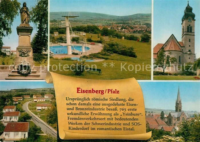 AK / Ansichtskarte Eisenberg_Pfalz Denkmal Freibad Kirche Siedlung Chronik Eisenberg Pfalz