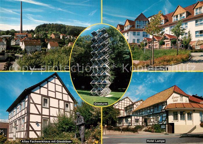 AK / Ansichtskarte Gruenenplan Teilansicht Fachwerkhaus Glasblaeser Statue Glasturm Altenzentrum Hotel Lampe Gruenenplan 0