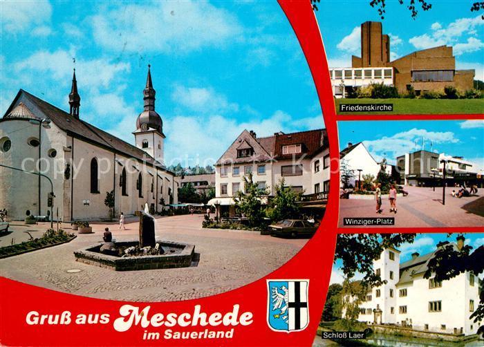 AK / Ansichtskarte Meschede Stadtplatz Kirche Friedenskirche Winzinger Platz Schloss Laer Meschede