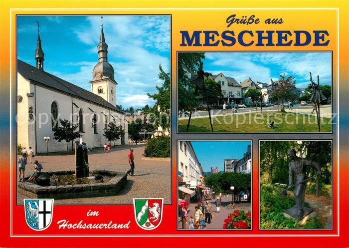 AK / Ansichtskarte Meschede Brunnen Kirche Park Fussgaengerzone Skulptur Meschede