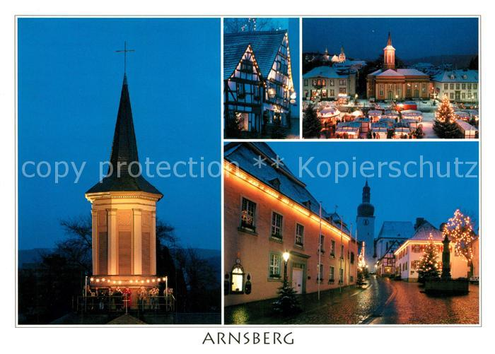 AK / Ansichtskarte Arnsberg_Westfalen Kirchturm Markt Kirche Brunnen Arnsberg_Westfalen
