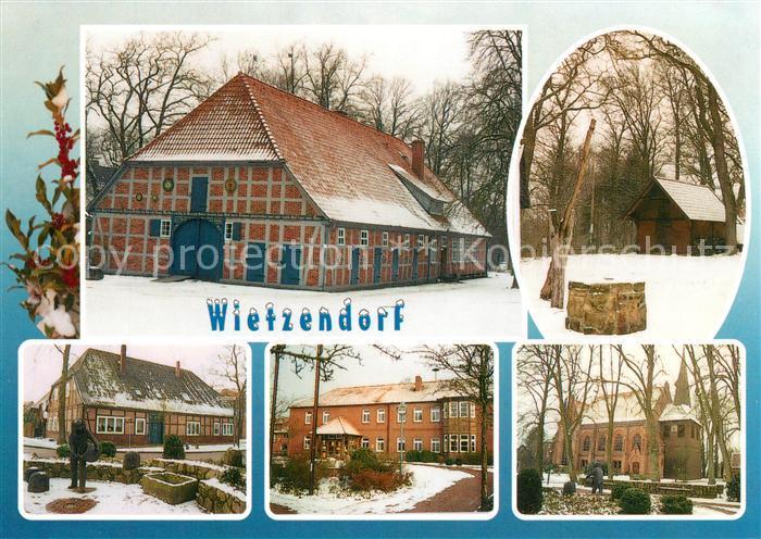 AK / Ansichtskarte Wietzendorf Peetshof mit Ziehbrunnen Plastik der Imker Rathaus St Jakobi Kirche Wietzendorf