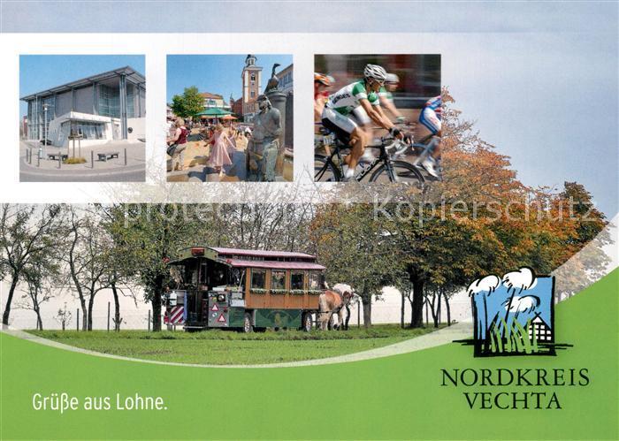 AK / Ansichtskarte Lohne Ortsmotive Radfahrer Pferdewagen Lohne