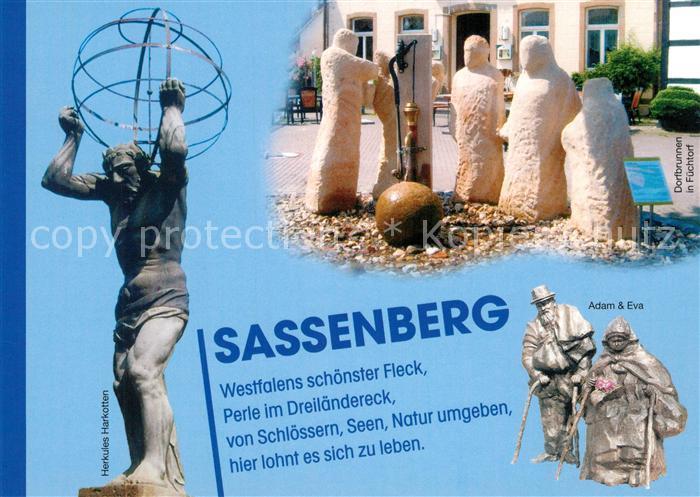AK / Ansichtskarte Sassenberg Herkules Plastik Dorfbrunnen in Fuechtorf Skulptur Adam und Eva Sassenberg