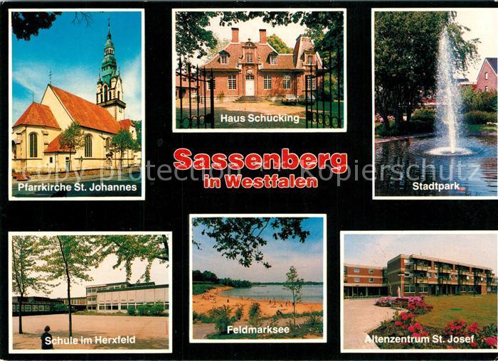 AK / Ansichtskarte Sassenberg Pfarrkirche St Johannes Haus Schuecking Stadtpark Schule im Herfeld Feldmarksee Altenzentrum St Josef Sassenberg