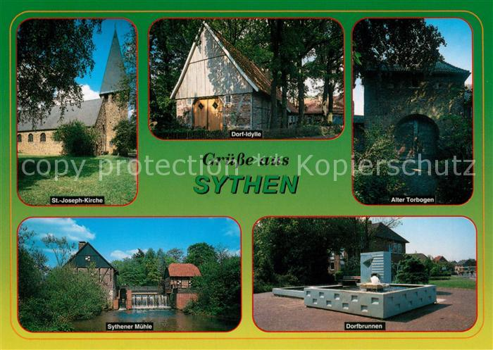 AK / Ansichtskarte Sythen St Joseph Kirche Dorf Idylle Alter Torbogen Sythener Muehle Dorfbrunnen Sythen