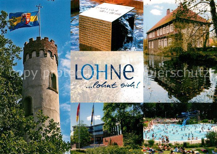 AK / Ansichtskarte Lohne Schlossturm Monument Weiher Rathaus Schwimmbad Lohne