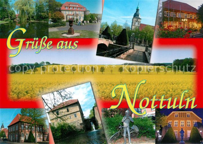 AK / Ansichtskarte Nottuln Teich Rathaus Kirche Schloss Plastik Muehle Nottuln