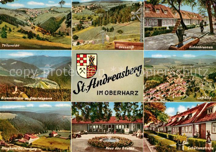 AK / Ansichtskarte St_Andreasberg_Harz Landschaftspanorama Bismarckturm Odertalsperre Berghotel Haus des Gastes Schuetzenstrasse Hirtenbrunnen Sessellift Fliegeraufnahme St_Andreasberg_Harz
