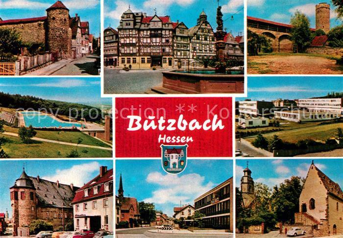 AK / Ansichtskarte Butzbach Altstadt Stadtmauer Turm Marktplatz Brunnen Fachwerkhaeuser Freibad Butzbach