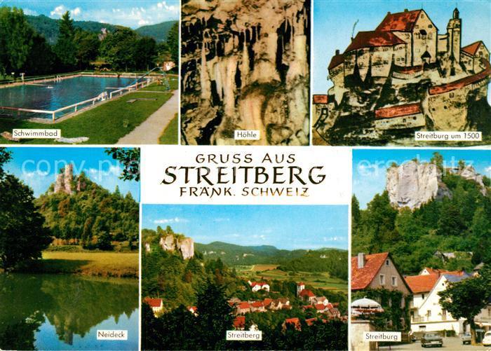 AK / Ansichtskarte Streitberg_Oberfranken Freibad Hoehle Burg Neideck Streitburg um 1500 Landschaftspanorama Naturpark Fraenkische Schweiz Streitberg Oberfranken