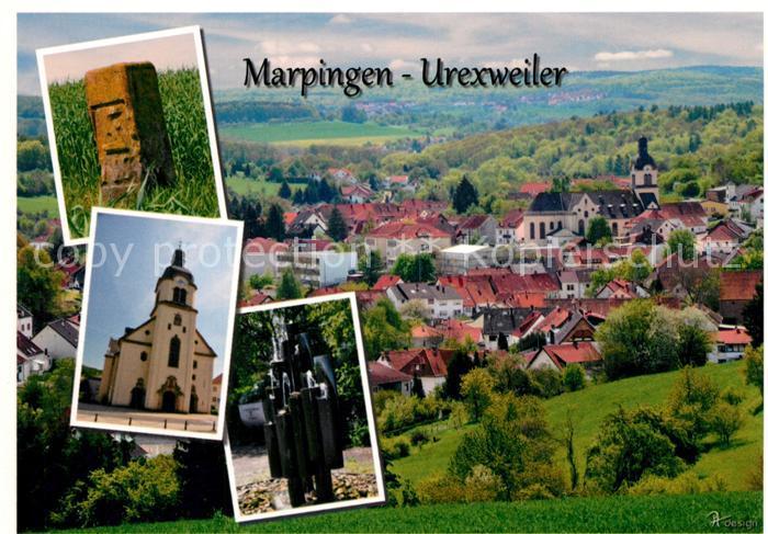 AK / Ansichtskarte Urexweiler_Marpingen Gedenkstein Kirche Brunnen Ortsansicht mit Kirche