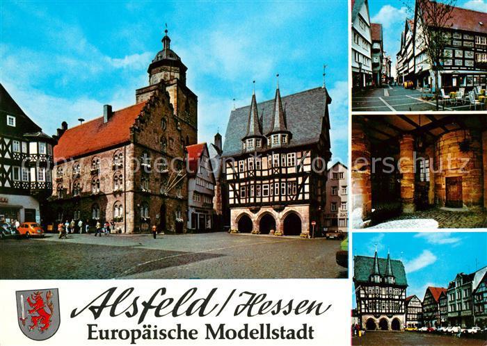 AK / Ansichtskarte Alsfeld Europaeische Modellstadt Markt Rathaus Altstadt Fachwerkhaeuser Alsfeld