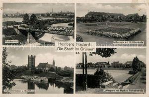 AK / Ansichtskarte Homberg_Niederrhein Brueckenkopf Lutherpark mit Schillerstrasse Jugendherberge und Bootshaus Lutherpark mit Markus Paffrathstrasse Homberg Niederrhein