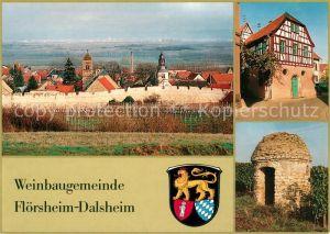 AK / Ansichtskarte Dalsheim Panorama Weinbaugemeinde Fachwerkhaus Wappen Dalsheim