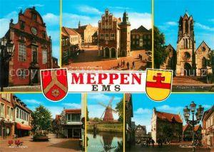 AK / Ansichtskarte Meppen Kirche Markt Rathaus Bahnhofstrasse Windmuehle Wappen Meppen