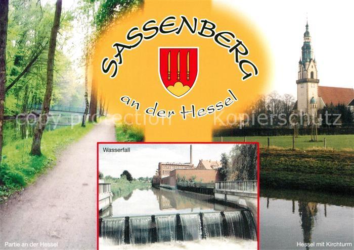 AK / Ansichtskarte Sassenberg Partie an der Hassel Kirche Wasserfall Sassenberg