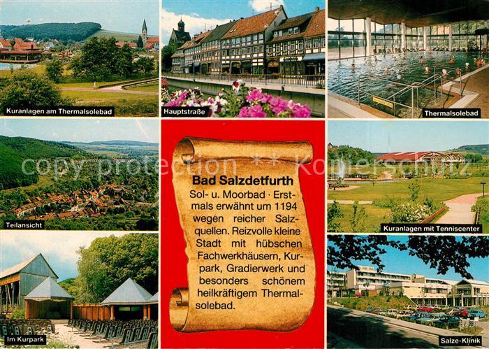 AK / Ansichtskarte Bad_Salzdetfurth Kuranlagen Kurpark Hauptstrasse Thermalsolebad Tenniscenter Salzeklinik Bad_Salzdetfurth 0