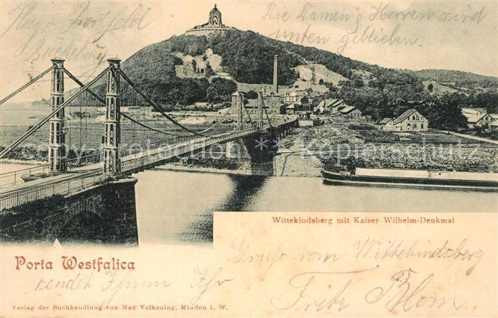AK / Ansichtskarte Porta_Westfalica Wittekindsberg mit Kaiser Wilhelm Denkmal Porta_Westfalica