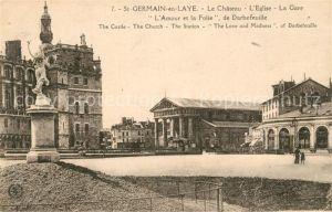 AK / Ansichtskarte Saint Germain en Laye Le Chateau l'Eglise La Gare Saint Germain en Laye