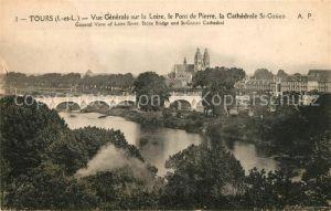 AK / Ansichtskarte Tours_Indre et Loire Vue Generale sur la Loire le Pont de Pierre la Cathedrale St Gatien Tours Indre et Loire