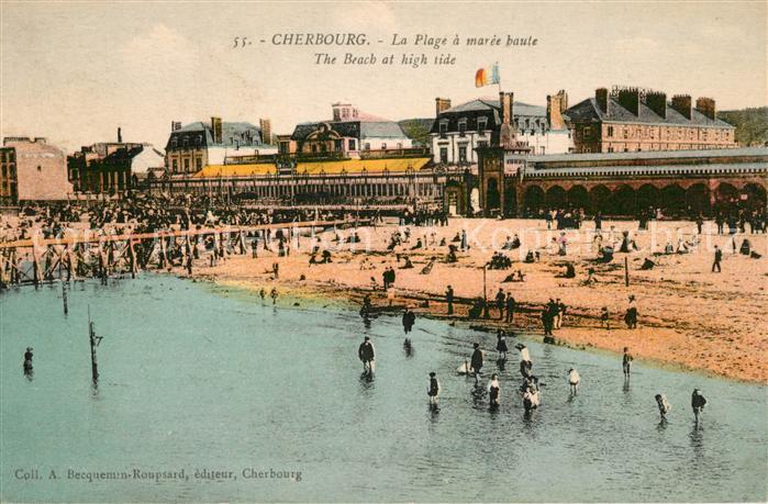 AK / Ansichtskarte Cherbourg_Octeville_Basse_Normandie La Plage a maree haute Cherbourg_Octeville