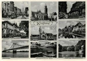 AK / Ansichtskarte Krefeld Rheinstrasse Dionysiuskirche Ostwall Westwall mit Museum Hauptbahnhof Burg Linn Rheinbruecke Rheinpartie Stadtwaldhaus Krefeld