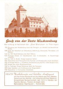 AK / Ansichtskarte Wachsenburg Veste Chronik Wachsenburg