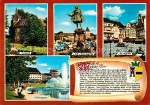 AK / Ansichtskarte Moers Schloss Neumarkt Altmarkt Koenigsee Chronik Moers