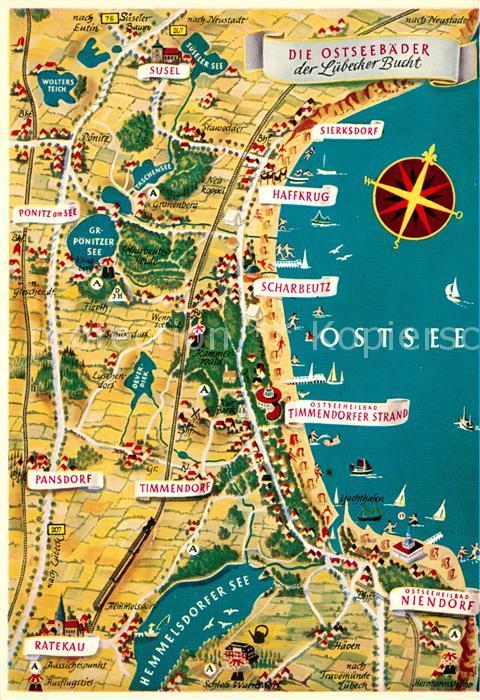 Karte Lübeck.Ak Ansichtskarte Luebeck Original Seidel Karte Serie 1 B Ostseebaeder Luebecker Bucht Landkarte Luebeck